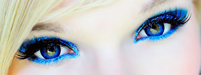 ColourVue Space Blue contact lenses with blue make up