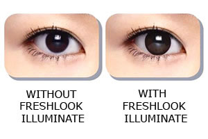 Without and with Freshlook Illuminate Contact Lenses